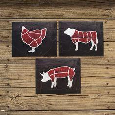 Butcher Cut Print Set by HopperDesignStudio on Etsy, $35.00 #kitchen #kitchenart