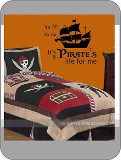 """Yo Ho. Yo Ho. It's a Pirate's life for me."" Vinyl Lettering Wall Decal. Available in various sizes and vinyl colors. Great way to add a little style to that pirate themed room. Easy to apply and fun for kids of all ages!"
