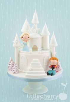 Elsa & Anna, Frozen Castle Cake| by Little Cherry Cake Company