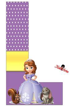 Alfabeto de Princesa Sofía con Fondo de Puntos Blancos.   Oh my Alfabetos!