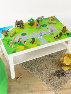 Furniture sticker suitable for the IKEA LACK coffee table! This play table is very flexible. Both the IKEA LILLABOO wooden train set and a zoo, farm Play Table, Kid Table, Petite Table Ikea, Ikea Lack Coffee Table, Coffee Tables, Farm Animal Toys, Farm Animals, Playroom Decor, Playroom Ideas