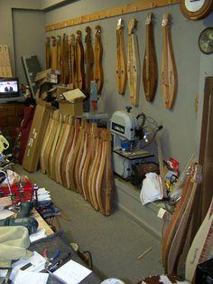Inside Smoky Mountain Dulcimers shop in Gatlinburg, TN. What a wonderful playground!