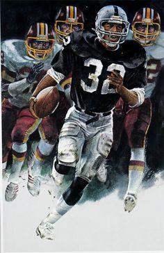 Marcus Allen, Oakland Raiders. Painting by Merv Corning