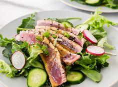 Grilled Tuna Salad With Wasabi Dressing Ingredients: 1 tablespoon soy sauce (+ 2 teaspoons) 1 tablespoon olive oil (+ 2 teaspoons) 1 1/4 lb fresh tuna stea