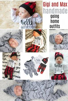 Hello World Hudson Buffalo Plaid Theme Newborn Outfit – Gigi and Max Gigi And Max, Baby Boy Christmas Outfit, Hospital Pictures, Going Home Outfit, Black Beanie, Baby On The Way, Handmade Clothes, Buffalo Plaid, Newborn Photography