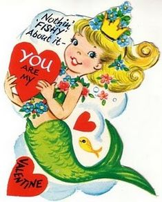 Vintage mermaid Valentine's card