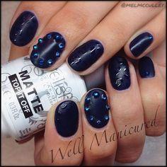 "I am ""MATTE"" about this mani! #lol COLOR: #IHearttheInstructor, gel Matte Top coat on top with blue rhinestone embellishments. By @gelish_official @Melanie Bauer McCulley  #wellmanicured #nails #manicure #mattenails #mattetopcoat #navy #manhattanbeach #hermosabeach #intheheartofthesouthbay #la #gel #nailstylist #nailartist #bluediamonds #ilovenails #nailfashion #naildesigns #nails2desire #manicureaddict #Padgram"