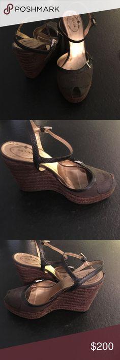Prada canvas wedgies Brown canvas sandal wedges straw wedgies by Prada gently worn Prada Shoes Wedges