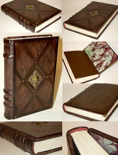 This is a 6x9 leather journal with an offset cord design along the spine. Hand sewn headbands, handmade marbled paper and parchment paper for the text block. Decorative filigree centerpiece that is...