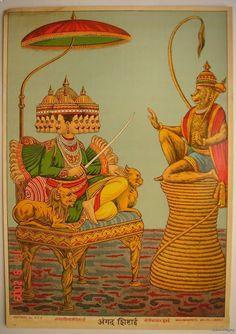 The+Monkey+Prince+Angad+is+First+Sent+to+Give+Diplomacy+one+last+chance+to+Ravana+-+Ravi+Varma+Press+1910's❤️☀️
