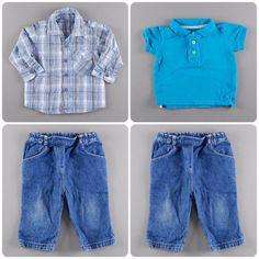Pantalón vaquero 5,50€   Camisa de cuadros manga larga 3,25€  Polo manga corta 2,40€ http://www.quiquilo.es/37-9-meses