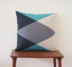 "Kissenbezug, 18 ""x 18"" dekorative Kissen, Color Block Kissen, geometrische Kissen blau grau Polster, Türkis Kissen, 326"