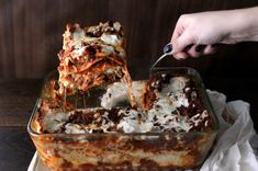 Recipe of the Day: Absolute Best-Ever Lasagna  Save the recipe 👍 Meaty Lasagna, Sausage Lasagna, Lasagna Casserole, Casserole Recipes, Lasagna Food, Meat Lasagna Recipe With Ricotta, Italian Dishes, Italian Recipes, Italian Foods