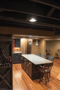 Basement Photos Exposed Rafters Basement Ceiling Design Ideas, Pictures, Remodel, and Decor - page 14