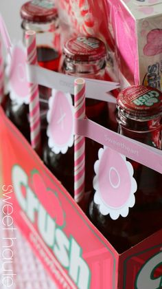 Valentines Day gift idea - Strawberry Crush soda with free printable tags