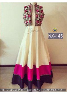 The Largest Indian ethnic wear store for women – Sarees, Salwar Suits & Lehengas Party Wear Indian Dresses, Indian Gowns Dresses, Indian Long Gowns, Long Dress Design, Dress Neck Designs, Pakistani Outfits, Indian Outfits, Indian Clothes, Desi Clothes