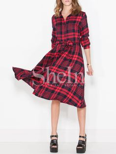 Shop Red Long Sleeve Lapel Plaid Dress online. SheIn offers Red Long Sleeve Lapel Plaid Dress & more to fit your fashionable needs.