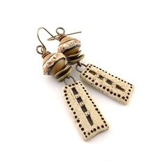 Gold and Brown Rustic Ceramic Earrings  Ceramic by CinLynnBoutique