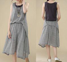 Sleeveless dress / cotton and linen dress / by warmhomeland, $47.88