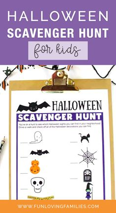 Here's a fun Halloween game for all ages. Use our free printable scavenger hunt lists and go on a Halloween scavenger hunt throughout the neighborhood! #halloweenscavengerhunt #halloweencraft #halloween #halloweenactivities #halloweenideas #halloweenforkids #kidshalloween Halloween Scavenger Hunt, Fun Halloween Games, Fun Halloween Treats, Scavenger Hunt For Kids, Halloween Party Themes, Halloween Crafts For Kids, Kids Crafts, Indoor Activities For Kids, Craft Activities For Kids
