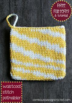 Waistcoat Stitch Potholder free pattern