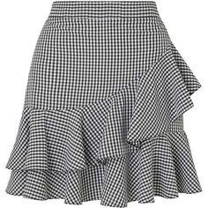 Miss Selfridge Black Gingham Ruffle Mini Skirt (1 420 UAH) ❤ liked on Polyvore featuring skirts, mini skirts, black, flounce skirt, frill skirt, ruffle mini skirt, short frilly skirt and frilled skirt