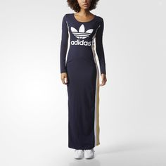 adidas Originals collaborates with British chanteuse Rita Ora for the Cosmic Confession collection, inspired by the utilitarian look of vintage space suits. This maxi dress features 3-Stripes detailing and snap buttons up one side.