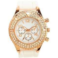 Pave Rhinestone Rubber Boyfriend Watch ($16) ❤ liked on Polyvore featuring jewelry, watches, accessories, rhinestone watches, wristband watches, charlotte russe watches, charlotte russe and rubber jewelry