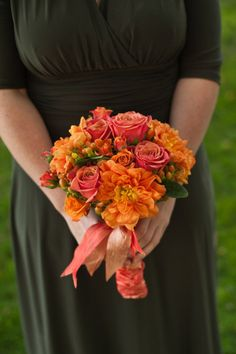 Pink and orange bouquet, very pretty!