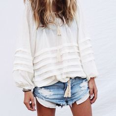 Cool, casual and laid back Australian style - white flowy tops and denim cut-off shorts / the love assembly