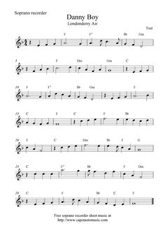 Danny Boy (Londonderry Air), free soprano recorder sheet music notes