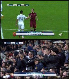 Wzruszający moment w meczu Real Madryt vs AS Roma • Francesco Totti otrzymał owację na stojąco od fanów Realu w Lidze Mistrzów >> #football #soccer #sports #pilkanozna