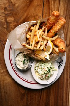 fish + chips (don't forget the cole slaw) (and a pint)