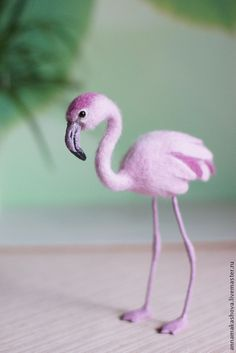 *NEEDLE FELTED ART ~ Pink Flamingo by Anna Makashova from Russia