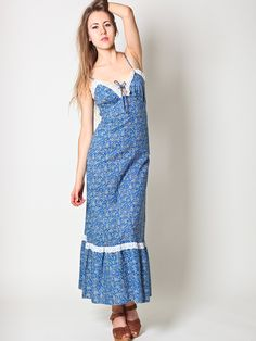 Vintage Maxi Dress in Blue Floral by Sears. $89.00, via Etsy.