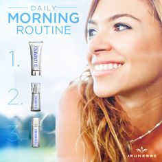 What's your morning routine? I start mine with the Youth Enhancement System, including the revolutionary new anti-aging skincare LUMINESCE by Jeunesse Global - Need help finding your morning routine? http://veramartinsjeuness.wix.com/beautycodebyjeuness