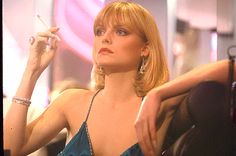 """Michelle Pfeiffer as Elvira Hancock in""""Scarface by Brian De Palma, 1983 Elvira Hancock, Michelle Pfeiffer Scarface, Scarface Film, Elvira Scarface, Pixie, Casual Fashion Trends, Retro Fashion, Al Pacino, Movie Tv"""