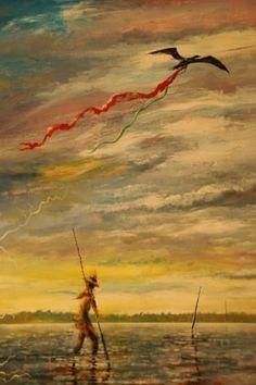 """Man in Water and Bird in Sky"" by Noel Rockmore"