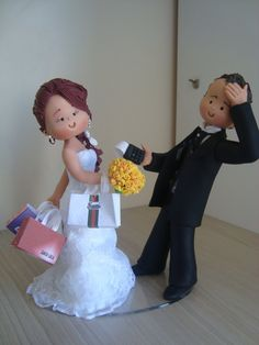 bride and groom cake topper Bridal Wedding Dresses, Wedding Couples, Wedding Cake Toppers, Wedding Cakes, Wedding Designs, Wedding Styles, Bride And Groom Cake Toppers, Wedding Cards Handmade, Novelty Cakes