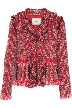 Lanvin | Ruffled cotton-blend tweed jacket | NET-A-PORTER.COM