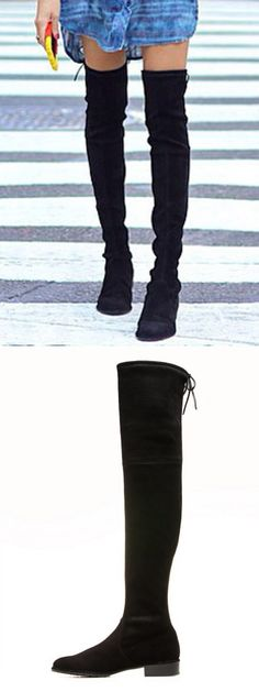 Black Suede Pointed Laced Back Over The Knee Flat Boots