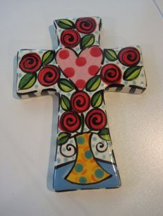 Hand+Painted+Ceramic+Cross++W/+Vase+of+Roses+by+shannondesigns