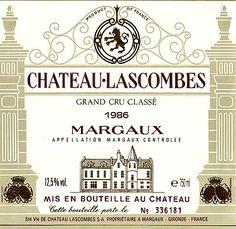 Margaux Château Lascombes;; one of 14 Deuxieme Grand Crus Classes (Second Growths); Bordeaux