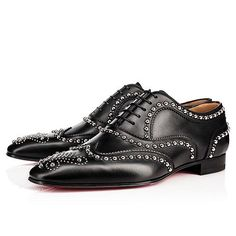 """""""Charlie Clou Flat"""" brings turn-of-the-century charm back to men's footwear. Accented in an eye-catching display of metallic studs and dots, his square toe box is further embellished in a decorative feature that adds a touch of refinement to your suited styles."""