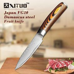 """Japanese Kitchen Knife VG10 Chef Knife Damascus steel sharp santoku knife 8"""" wood handle wholesale price EDC Type: Knives Material: Damascus Steel Knife Type: Chef Knives Certification: CE / EU,CIQ Model Number: 8"""" 5.5"""" 3.5""""inch vg10 Damascus steel kitchen knives Feature: Eco-Friendly Brand Name: xituo Free Shipping, Estimated Delivery Time: 12-20 days Japanese Kitchen Knives, Best Kitchen Knives, Kitchen Knife Brands, Best Family Gifts, Damascus Steel Kitchen Knives, Utility Knife, Chef Knife, Knife Sets, Cool Kitchens"""