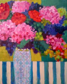 "Daily Painters Of Colorado: ""Hydrangeas & Roses"" by Santa Fe painter Annie O'Brien Gonzales"