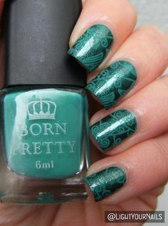 Green nail art with Astra and BP-107 stamping plate #nailart #nailstamping #astra #bornprettystore @bornprettystore