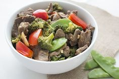 Beef Broccoli Stir Fry in white bowl