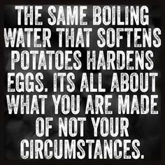 The same boiling water that softens potatoes, hardens eggs.  It's all about what you are made of, not your circumstances.