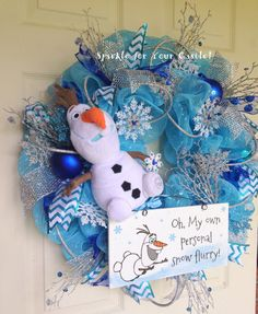 Frozen Wreath Olaf by SparkleForYourCastle on Etsy, $159.00